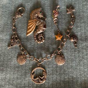 3 pc Mermaid Bracelet Sea Horse Brooch Wish Star